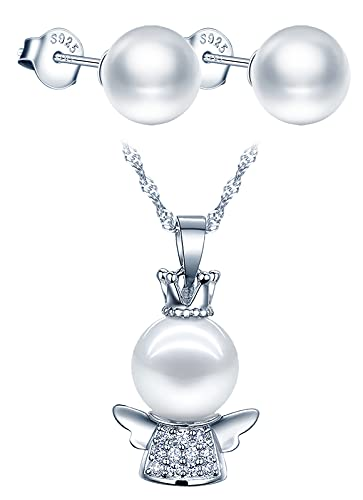Yumilok Collier perle femme fille, boucles d'oreilles perle femme fille, ensemble de bijoux de perle, collier boucle d'oreille en argent 925, collier de petit ange mignon, zircon incrusté