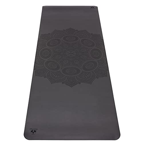 Clever Yoga Premium Non-Slip Yoga Mat. Unbeatable Performance on Grippy Wide and Tall Yoga Mat, Made From Natural Tree Rubber - Best For Hot Yoga Includes Carrying Bag With Strap (Mandala-Gray)