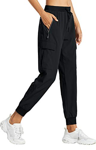 Libin Women's Cargo Joggers Lightweight Quick Dry Hiking Pants Athletic Workout Lounge Casual Outdoor, Black L