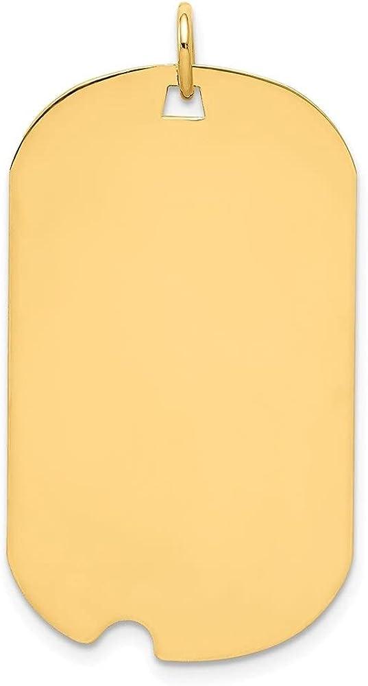 14k Yellow Gold Plain .035 Gauge Engraveable Dog Tag Notch Disc Pendant (L- 35 mm, W- 20 mm)