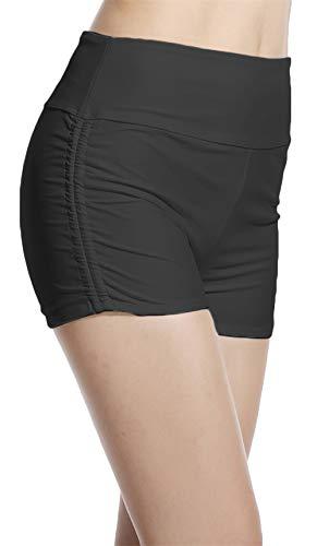 Lotsyle Women Swim Shorts High Waist Boxer Short Pants Beach Wear Black-S