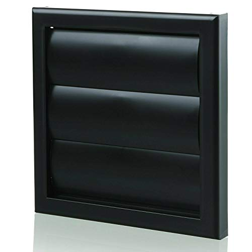 Black Gravity Grille 100mm - 4 inch External Ducting Air Vent with Round Spigot and Non-Return Gravity Shutters