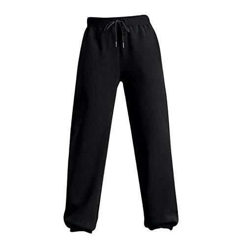 freneci Pantalones deportivos de invierno para mujer, pantalones de entrenamiento térmico con forro polar informal, pantalones deportivos de mujer abrigados - Negro M