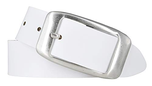 Mytem-Gear Damengürtel Ledergürtel Rindleder 40 mm Damen Leder Gürtel Belt kürzbar (105 cm, Weiß)