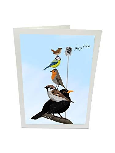 Geburtstagskarte Glückwunschkarte The Backyard Birds Amsel Spatz Rotkehlchen Blaumeise Zaunkönig Vogel Zeichnung mit Umschlag