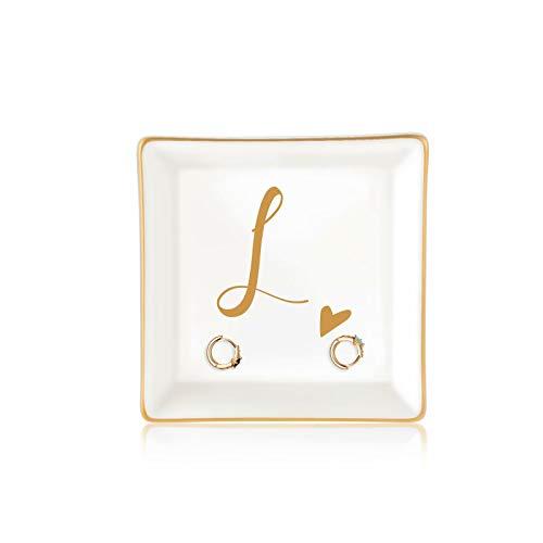 Best Friend Birthday Gifts for Women, Ceramic Ring Dish Decorative Trinket Plate Initial Jewelry Tray Dish, Long Distance Friendship Gifts for Women Friend Female Sister Mom Birthday Christmas