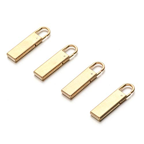 Zpsolution Gold Zipper Pull Replacement Metal Zipper Tab Repair Easy Use for Broken and Missing Zipper Pulls On Luggage Suitcase Jacket Backpacks Coat Boots