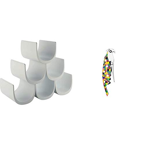 Alessi Noè GIA13 Portabottiglie di Design in Resina Termoplastica, Bianco & AAM32 1 Proust Parrot Cavatappi per Vino di Design, in Alluminio Profuso e PC, Multicolore