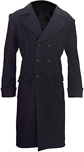 Uomo Benedict Cumberbatch Sherlock Holmes Nero Cappotto| Trench Nero Nero Medium-petto 102/107 cm