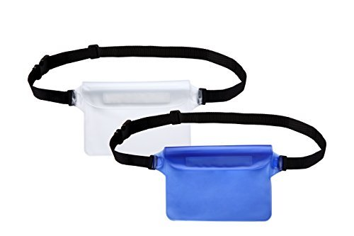 Waterproof Pouch with Waist Strap Best Way to Keep Your Phone and Valuables Safe and Dry Perfect for Boating Swimming Snorkeling Kayaking Beach Pool Water Parks (Blue+White)