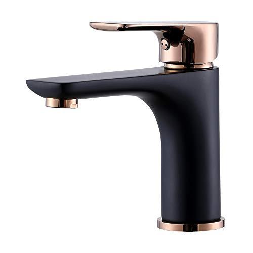 Lutriva Modern Single Handle One Hole Brass Gold & Matte Black Bathroom Faucet,Durable Vanity Faucet SUS304 Stainless Steel Rustproof