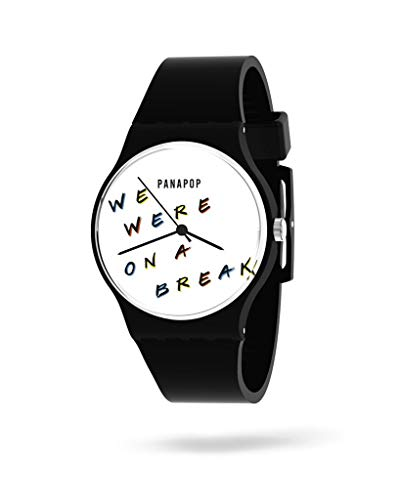 PANAPOP | Break | Reloj Original y analógico de Pulsera para Mujer con Correa Negra de Silicona, We were on a Break' - Friends Licencia Oficial