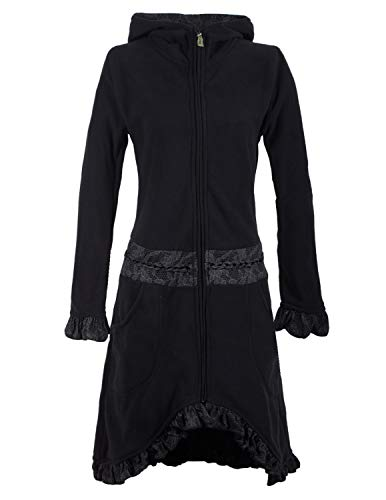 Vishes - Alternative Bekleidung - Weicher Warmer Damen Elfen Fleecemantel mit Kapuze und Rüschen schwarz 44