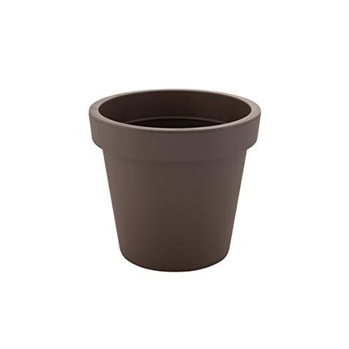 greemotion Vaso di fiori in plastica rotondo  Anna , vaso piante interni esterni, fioriera piante, Ø ca. 25 cm, altezza ca. 22,4 cm, grigio talpa