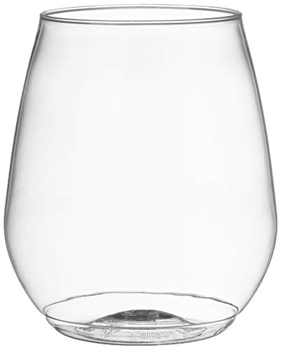 AmazonCommercial Plastic Shatterproof Stemless Wine Glass, 18 oz, Pack of 60