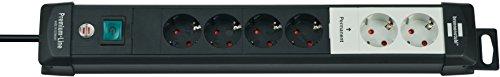 Brennenstuhl Premium-Line, Technik Steckdosenleiste 6-fach mit permanenten und schaltbaren Steckdosen (mit Schalter und 3m Kabel, Made in Germany) schwarz/grau