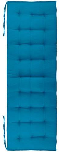 Brandsseller Cojín para banco, para interior y exterior, 27 puntadas, aprox. 140 x 40 x 4 cm, color azul