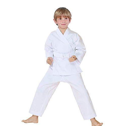 FLUORY Karate Uniform with Belt, White Karate Gi for Adult & Children, Ku-c001-white, Size 000/110CM (3'5