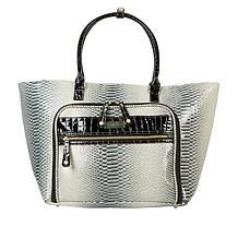 Buy Discount Samantha Brown Croco-Embossed Shopper Travel Carry-On Tote - Black and White