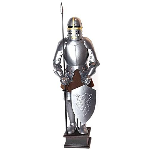 BALLYE Figura de Armadura de Guerrero Cruzado Vintage Completo - Estatua de Hierro Fundido de Metal de 18.0 in para Decoraciones de Mesa - Use Toda la Estatua de Armadura de Dios de Caballero