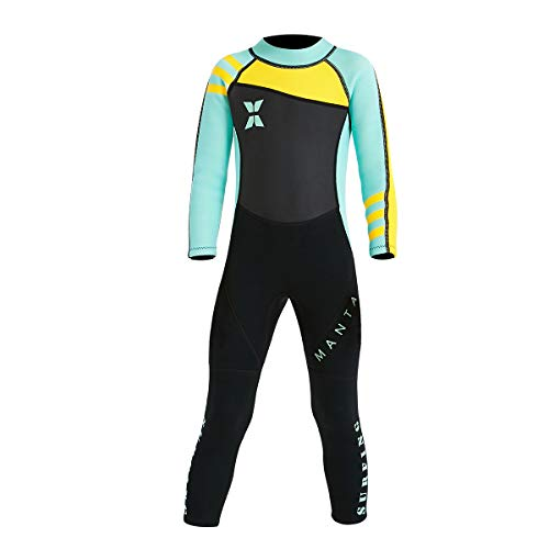 "NATYFLY Kids Wetsuit, 2.5mm Neoprene Thermal Swimsuit for Boys and Girls (New Green-Kids Wetsuit-2.5mm, New XL-for Height 47""-52"")"