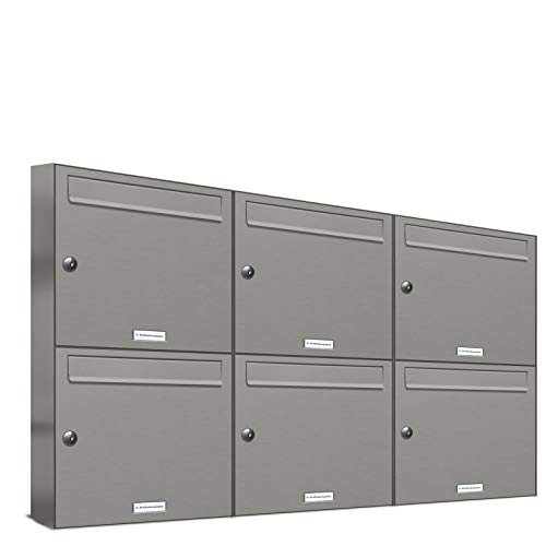 Sistema de buzón AL de 6 buzones de aluminio gris RAL 9007, buzón premium DIN A4, 6 buzones