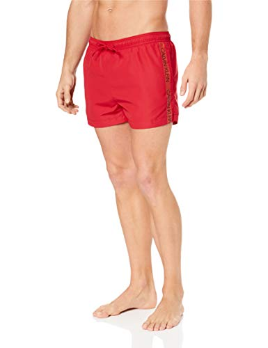 Calvin Klein Men's Short Swim Shorts - Lipstick Red - M -...