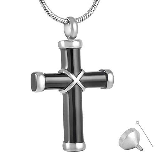 KBFDWEC Colgantes de joyería de cremación de Acero Inoxidable Negro Brillante Envuelto Collar de urna Cruzada