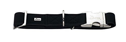 HUNTER SOFTIE ALU-STRONG Hundehalsung, Halsband für Hunde, Kunstleder, Aluminium Klickverschluss, M, schwarz