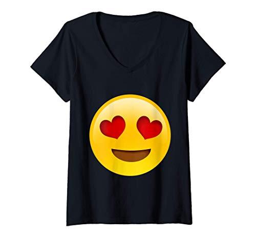 Mujer Emoji Cara sonriente con ojos en forma de corazón Mensajes d Camiseta Cuello V