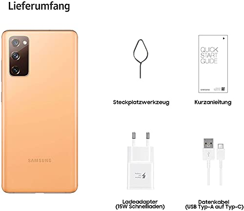 Samsung Galaxy S20 FE, Android Smartphone ohne Vertrag, 6,5 Zoll Super AMOLED Display, 4.500 mAh Akku, 128 GB/ 6 GB RAM, Handy in Orange inkl. 36 Monate Herstellergarantie [Exklusiv bei Amazon]