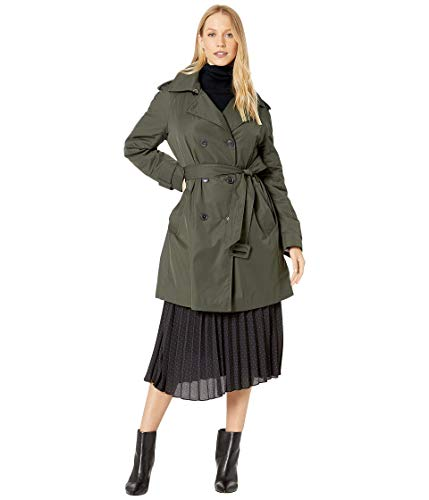 Kate Spade New York Printed Gabardine Trench Rich Olive SM (US 2-4)
