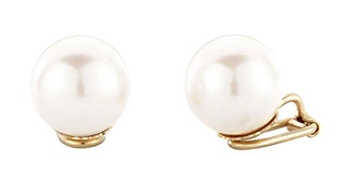 Traveller - Orecchini a clip, gioielli placcati oro 22carati, rodiati - perla di Ø 14mm e placcato Oro, colore: gold, cod. 801014