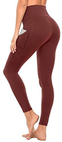 Anwell Sporthose Damen Kompression Leggings Sport Leggings figurformend Blickdicht Sporthose Damen Sweathose Hohe Taille mit Tasche Rot XL