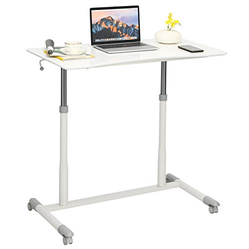 Tangkula Mobile Standing Desk Computer Desk, Height Adjustable Stand Up Desk with 4 Wheels, Rolling Compact Standing Desk with Iron Pipe Frame, MDF, PVC Tabletop, Ideal for Home Office, White