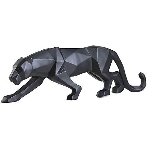 Artesanías decoración Las estatuas del Leopardo Escultura Abstracta Pantera Mano Craved Animal de la Resina decoración casera Moderna Negro Figura de Adorno