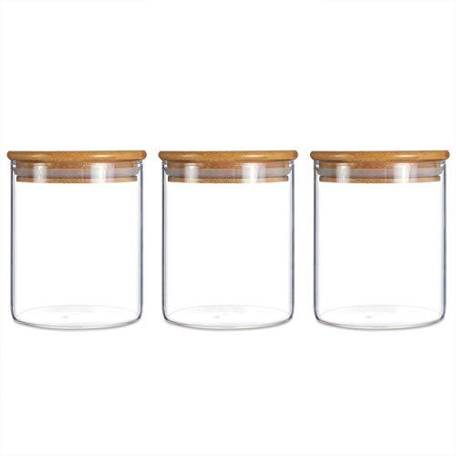 Barattolo in vetro, contenitore per alimenti da cucina con coperchio in bambù, ermetico (confezione da 500 ml-3)