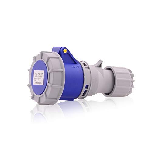 CEE sterk stroomstopcontact industriële stekker IP67 in blauw grijs 16A, 3-polig, 230V, CE, SB, RoHS, Reach