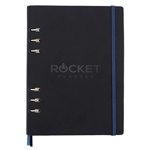 Rocket Planner Dagelijkse Doel Planner - 26-Week Productiviteit Notebook met Ongedateerde en navulbare Pagina's - Zachte Touch Cover Organiser voor Thuis, Werk - Tekenen, Schrijven, Plan, Take Notes - 100gsm, Maat A5, Zwart