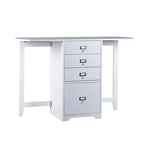SEI Furniture Fold-Out Organizer Convertible Desktop Craft Desk, White
