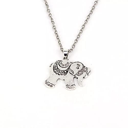 RTEAQ Moda Collar Joyas Gargantilla Collar con Colgante de Elefante Vintage Collares de Elefante de Color Blanco Plateado Parejas Fiesta San Valentín Cumpleaños Regalos