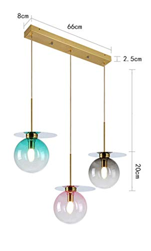 estilo nórdico 3 lámparas de arañas de cristal combo moderno restaurante sencillo vestíbulo de coloridas vidrieras lujo luz lámpara de techo, lámpara de dosel Lineal 3