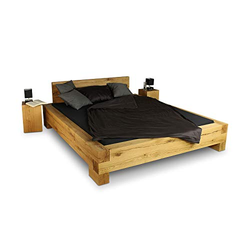 GREENHAUS Massivholzbett 90x200 cm Eiche massiv Holz Handarbeit und Massivholz aus Deutschland Balkenbett Vollholz Bett