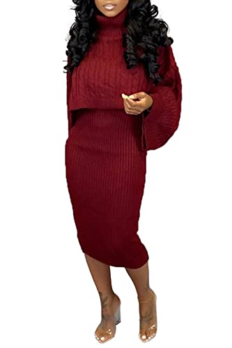 Womens Fall Rib-Knit Pullover Sweater Top & Long Skirt Set 2...