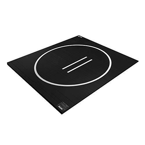 Velotas 1.25' Thick Wrestling Mat, 2-Piece Rollout Mat for Basement, Garage, or Home Gym Wrestling Technique Practice, Premium Vinyl-Topped Foam Mat for All Combat Sports, 10x10 ft, Black (VWM-10X10BK-30M)