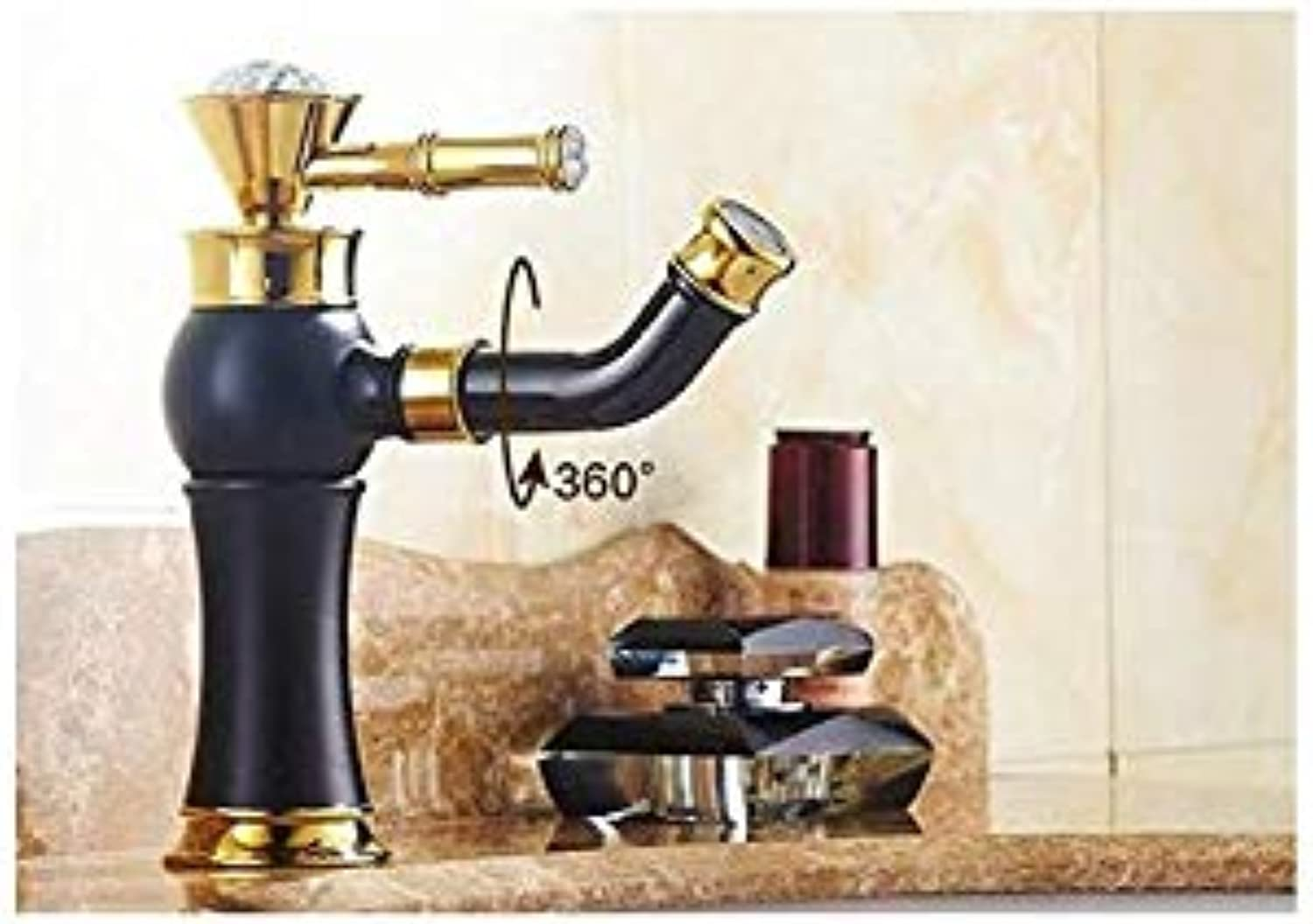 Basin Faucet Classic Beautiful Deck Mounted Single Handle Counter Top Basin Faucet gold Brass Hot and Cold Water Bathroom Mixer Taps,B