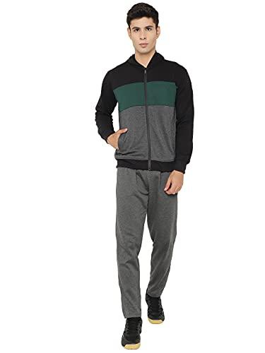 CHKOKKO Fleece Zipper Long Sleeve Hooded Men's Tracksuit Green Dark grey size- XL