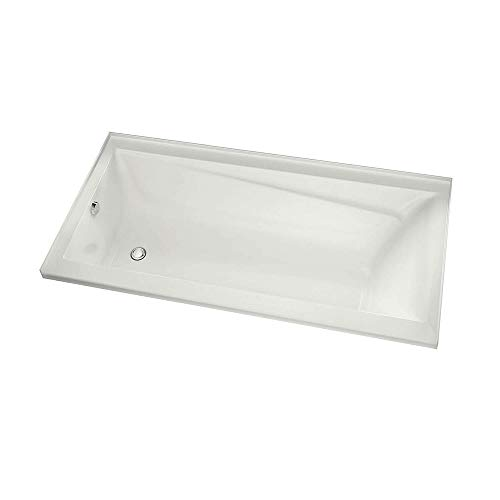MAAX 105514-R-000-001 Exhibit Rectangular Acrylic Soaking Bathtub with Integrated Tiling Flange and Right Hand Drain, 59.75-in L x 31.875-in W x 20-in H, White