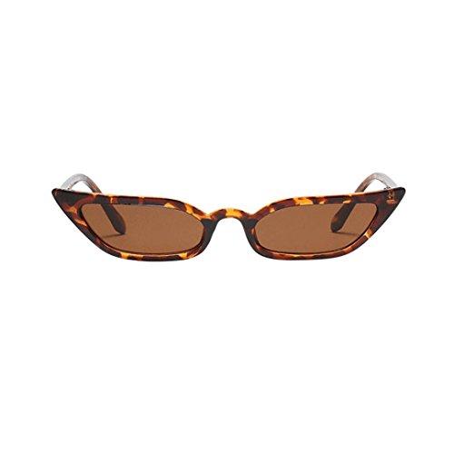 Lenfesh Frauen Vintage Katzenaugen-Sonnenbrille Retro kleine Rahmen UV400 Brillen Mode Damen (Braun)