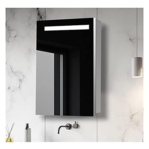Armario de Pared con Espejo y Luz LED, Mueble de Baño de Acero Inoxidable, Mueble Organizador para Lavabo/Tocador suspendido con 3 Estantes